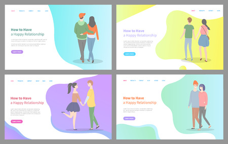Illustration pour How to build happy relationship vector, man and woman holding hands of each other, relaxed people in love, cuddling and embracing tender. Website or webpage template, landing page flat style - image libre de droit