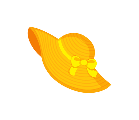 Illustration for Yellow beach hat decorated by ribbon and bow, headgear for women. Bright headdress in flat style, element for decoration, summer straw hat vector - Royalty Free Image