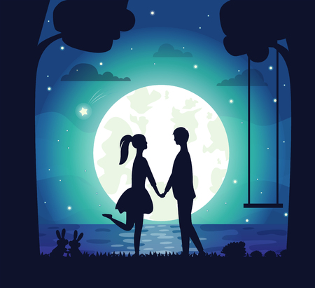 Illustration for Couple having date at night vector, man and woman holding hands standing on bank of lake. Big moon and shining stars, rabbit in grass, tree silhouette - Royalty Free Image