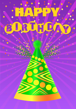 Illustration pour Happy Birthday greeting card vector. Anniversary accessory, paper headdress and party, celebration and congratulation. Festive cone hat, Bday event - image libre de droit