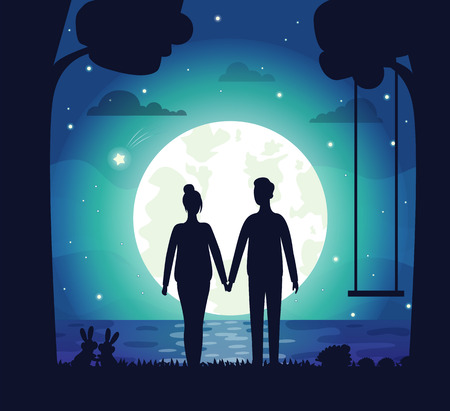 Illustration for Romantic couple vector, man and woman on secret date standing by lake holding hands of each other. Swing and tree silhouette, shining stars and romance - Royalty Free Image