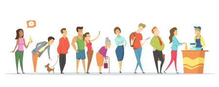 Illustration pour Counter and worker vector, people waiting in long line, tired man and woman, pet dog, senior lady with stick, teenager with rucksack. Market service - image libre de droit
