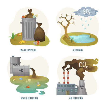 Ilustración de Environmental problems vector, set of issues on planet earth, waste disposal and acid rains, water pollution and air with smoke and smog from factories. Concept for Earth day - Imagen libre de derechos