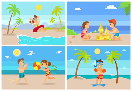 Ilustración de Children on summer vacation vector, girl in lifebuoy, boy wearing special diving equipment for snorkeling. Brother and sister playing ball building castle - Imagen libre de derechos