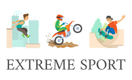 Illustration for Extreme sport vector, skateboarder young person in city, parkour guy jumping from roof of skyscraper, dangerous hobby. Motorcycling motorbike riding. - Royalty Free Image