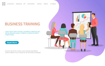 Illustration pour Business training, people on meeting listening to reporter near board with graphs and charts. Vector web poster with coworkers on chairs, back view - image libre de droit