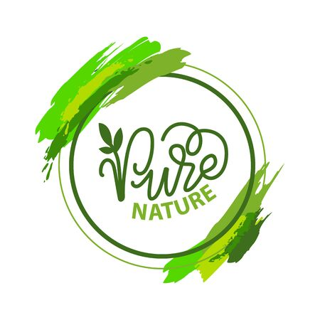 Illustration pour Pure nature lettering and green calligraphy, garden plant isolated in round frame with brush strokes. Vector label of ecology friendly nature - image libre de droit