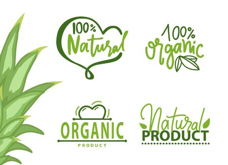 Illustration for Guarantee of 100 percent organic and natural product - Royalty Free Image