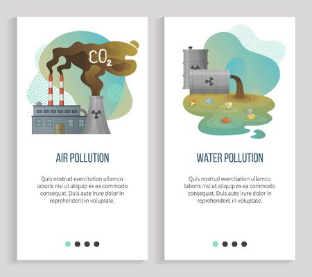 Illustration pour Air pollution vector, water waste and disposals, gas emissions from factories emitting co2 harmful substances, sewer pipe with garbage in it. Website or slider app, landing page flat style - image libre de droit