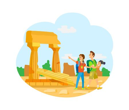 Ilustración de Woman and man couple traveling together vector, ruins of city. Photographer and wife, backpackers on ancient building architecture with old pillar - Imagen libre de derechos
