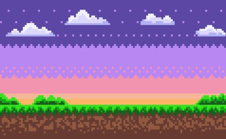 Ilustración de Nobody interface of pixel game platform, evening and sunset view, cloudy sky and green grass with bushes, adventure and level, computer graphic vector. Pixelated mobile app video-game - Imagen libre de derechos