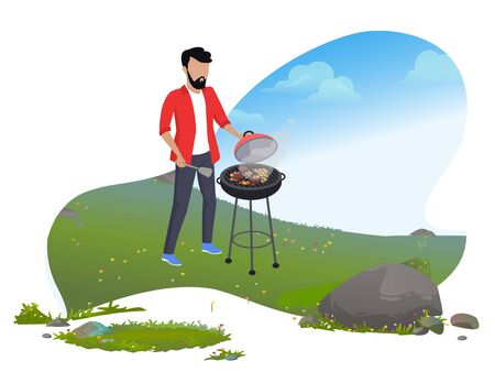 Mountain tourism, man cooking sausages on grill or BBQ vector. Outdoor recreation and wild nature, barbecue party, summer activity, roasted food, weekend