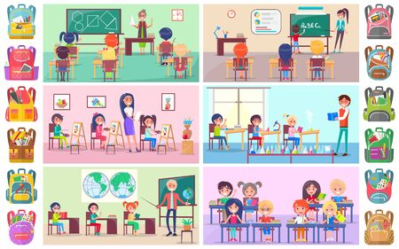 Illustration pour Teacher and pupils in classroom, classmates studying. Backpack sticker, girl and boy sitting at desktop with book, chemistry and language lesson vector. Back to school concept. Flat cartoon - image libre de droit