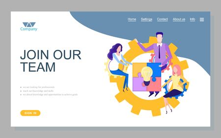 Vektor für Company looking for professionals, teach knowledge and skills, direct knowledge and opportunities to achieve goals. Join our team online, teamwork vector. Website or webpage template, landing page - Lizenzfreies Bild