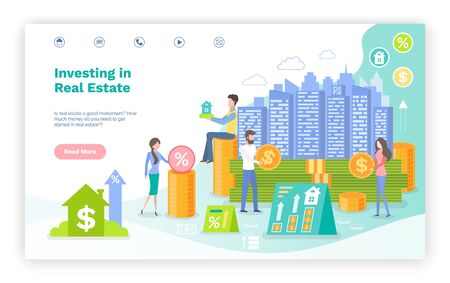 Ilustración de People with money investing in real estate vector, woman and man with coins and infocharts, banking and profit out of construction of houses. Website or webpage template, landing page flat style - Imagen libre de derechos