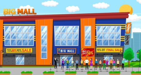 Big sales in mall, Black Friday sale. Discounts on clothes and appliances in shopping stores. People waiting outside. Building with stores for shoppers, customers. Vector illustration in flat style