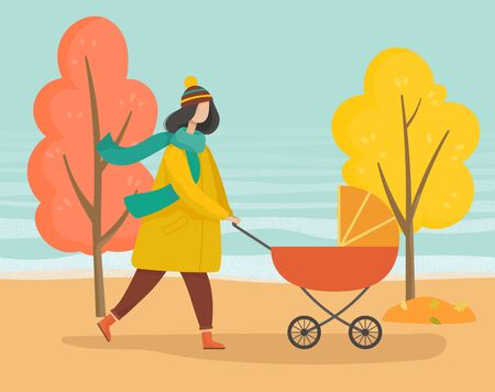 Illustration pour Woman strolling with baby pram in autumn park. Mother taking care about her child in orange carriage. Walking in forest, wood or lawn. Trees with yellow leaves and foliage, fall weather illustration - image libre de droit