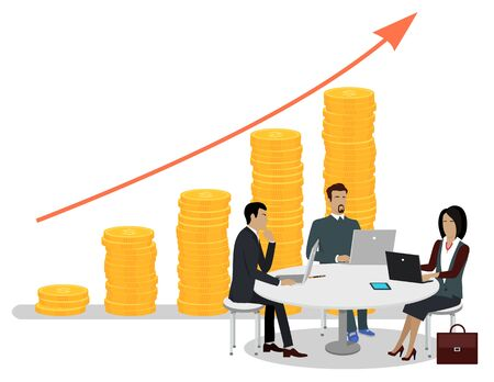 Ilustración de Business people sitting around table with laptops and gadgets and working, growing red arrow graph and stack of coins on background, investments concept. Vector illustration in flat cartoon style - Imagen libre de derechos
