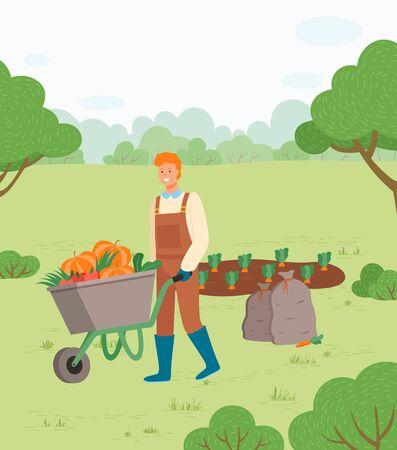 Ilustración de Farmer with harvest in metal wheelbarrow. Man with cart of fresh ripe vegetables such as carrot, pumpkin, tomatoes, grown on garden bed. Vector illustration in flat cartoon style - Imagen libre de derechos