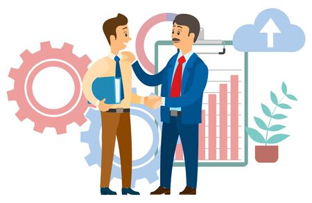 Vektor für Boss congratulating employee with career promotion. Chief and manager shaking hands, agreement for cooperation. Clipboard with rising graph vector illustration - Lizenzfreies Bild