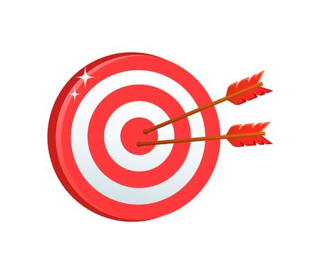 Illustration pour Board game vector, popular relaxation for adults, competition dartboard with aims colored in different colors and arrows, bullseye and target isolated. Business target - image libre de droit