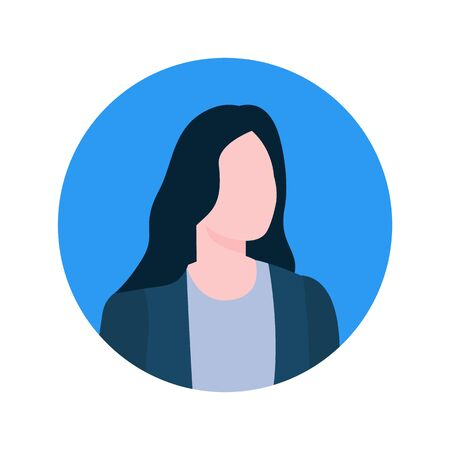 Illustration pour Faceless female online consultant profile view, executive worker economist character. Vector brokers face portrait in round frame isolated cartoon style woman - image libre de droit