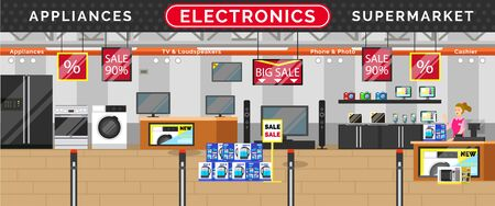 Illustration for Electronics supermarket, big sale in stores. Kitchen and living room appliances. TV and loudspeakers, phone and photo in mall. Black friday discounts on technical devices, black friday, vector - Royalty Free Image