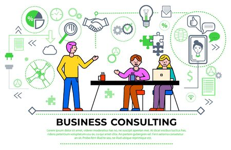 Illustration pour Business consulting meeting of workers, businesspeople brainstorming and discussing problems. Man and woman with laptop and tutor. Diagrams and charts, gears and magnifying glass icon vector - image libre de droit