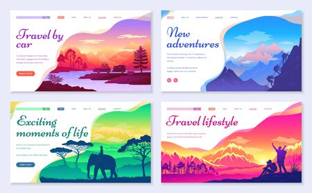 Illustration pour New adventures and exciting moments of life. Travel by car and traveling as lifestyle set. Mountaineering and hiking, riding elephant in Asian country. Landscapes sceneries. Website or webpage vector - image libre de droit
