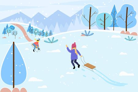 Illustration for Child waving to mother. Kid pulling sledges walking to mom. People leading active lifestyle sloping downhill. Winter landscape with trees and mountains. Snowy hills and frost outdoors vector - Royalty Free Image