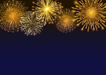 Illustration for Firework sparkling with lights, fireworks on night or evening sky. Explosion for festival, festive moods. New Year celebration holidays. Bright and shiny decoration. Vector sparkle and glittering ray - Royalty Free Image