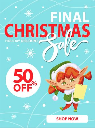 Illustration pour Final christmas sale and holiday discount, shop now. Little girl in green elf costume hold paper with wishes of children. Elf buying gifts and presents for kids. Vector illustration of promotion - image libre de droit
