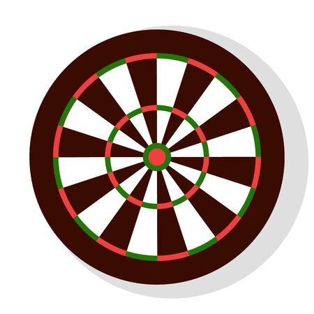 Illustration pour Darts game, colorful round dartboard with stripes, element of bachelor party or entertainment. Leisure or competition with hit icon, aiming sign vector - image libre de droit