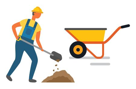 Illustration for Workman with instruments and tools for construction vector. Isolated character with shovel and carriage cart, man wearing helmet and special clothes - Royalty Free Image