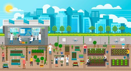 Illustration for Scientists growing plants in city, urban agriculture in town with developed infrastructure. Farming and new crops engineering. Farmers using energy produced by solar panels in urban gardening, vector - Royalty Free Image