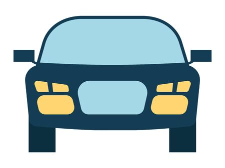 Illustration for Car bonnet portrait view headlamps and glass detail. Automobile sedan model with mirrors isolated on white. Transportation equipment auto carcass symbol in blue color. Medical insurance element vector - Royalty Free Image
