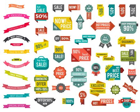 Illustration pour Set of colorful isolated labels with promotion caption. Big sale with best discounts and offers. Hot prices on clearance. Collection of advertising tags, icons. Vector illustration in flat style - image libre de droit