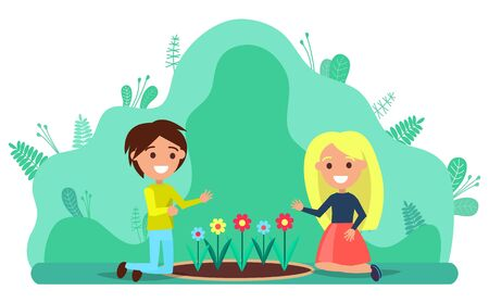 Illustration for Couple of young people kneeling on lawn planting flowers. Man and woman working in garden together. Horticulture and floriculture, garden tillage vector - Royalty Free Image