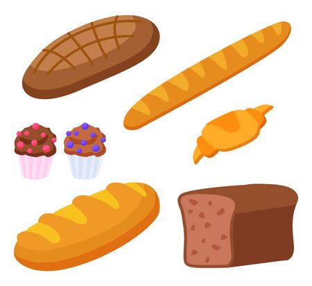 Illustration pour Set of products made of flour. Isolated baguette and croissant, french cuisine food. Rye bread and cupcakes with decorative topping. Dietary meal assortment of bakery. Flat style vector illustration - image libre de droit