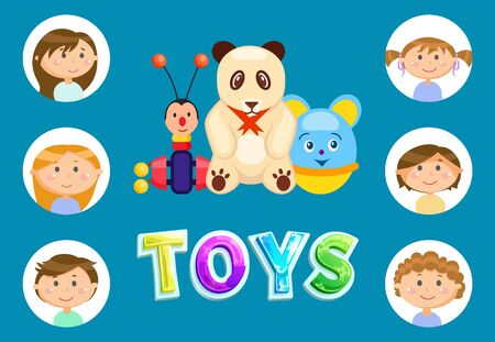 Toys set for children vector, soft fluffy panda with red ribbon elephant and butterfly with wheels and antennae, Portraits of kids in frames flat style