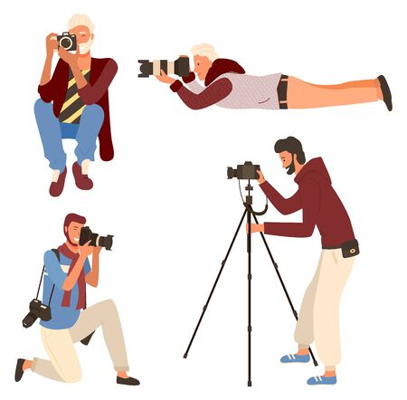 Illustration pour Smiling man taking photo, photographer character in casual clothes shooting. Male sitting, lying and standing with camera on tripod, photographing vector - image libre de droit