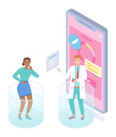 Illustration pour Isometric smartphone with mobile app. Woman patient have pain in stomach, ulcer, gastritis consulting with nutritionist through online medical cabinet. Concept of online medicine at distance - image libre de droit