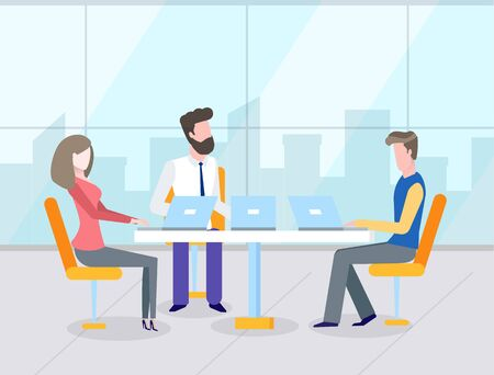 Illustration pour Business teamwork, man and woman workers using laptop at table, office with panoramic window. Colleagues discussing work, corporate strategy vector - image libre de droit
