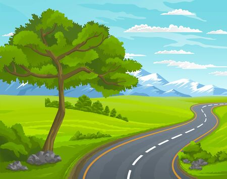 Illustration pour Road to the mountain. Scenic summer landscape with asphalt road passing through forest to high hills. Traveling and adventures through scenery meadows along a curving road to the snow-capped peaks - image libre de droit