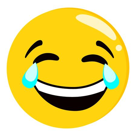 Illustration pour Yellow crying and laughing emoji isolated on white background. Emoticon or emoticon icon. Cute and funny round face expression smiling with tears for tex messages flat design vector illustration - image libre de droit