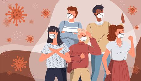 Illustration pour Coronavirus quarantine. Group of people wearing face medical masks to prevent disease protecting from virus, flu, air pollution, contaminated air, world pollution. Crowd of people surrounded covid - image libre de droit