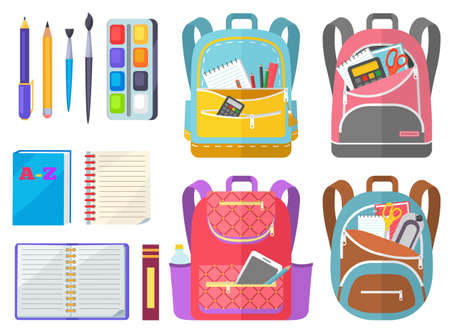 Illustration pour School objects, paints with tassel, colorful pencils, notebook and pen in backpack. Educational equipment, textbook and writing accessory, education. Back to school concept. Flat cartoon - image libre de droit