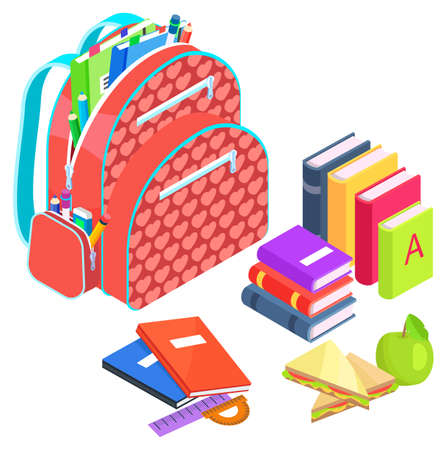 Schoolbag with books vector, back to school concept. Preparation for lessons and studies, packed bag with textbooks and apples, sandwich to eat on break. Isometric cartoon of education items