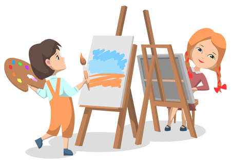 Illustration for School art club for pupils. Two girls drawing paints on canvas with paint palette and brush. Spend time creatively. Vector illustration in flat cartoon style - Royalty Free Image