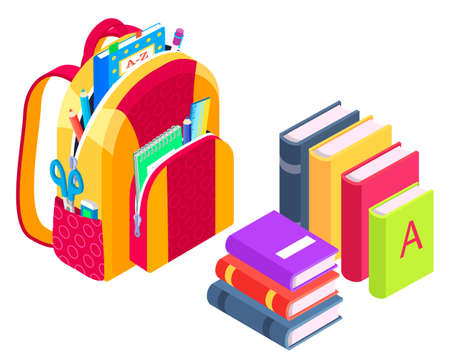Satchel packed for lessons vector, isolated backpack with items for classes, back to school concept. Isometric cartoon of bag with textbooks and notebooks, scissors and abc learning alphabets